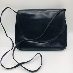 Vintage Bally soft lamb leather navy shoulder bag